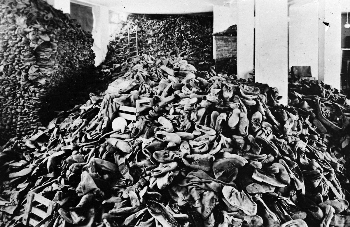 The hangar of shoes at Auschwitz concentration camp.