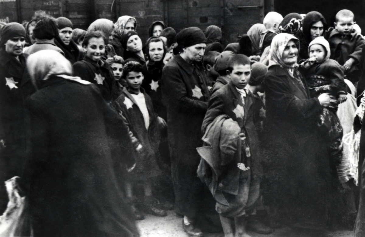 The arrival of Hungarian Jews in Auschwitz-Birkenau, in German-occupied Poland, June 1944.
