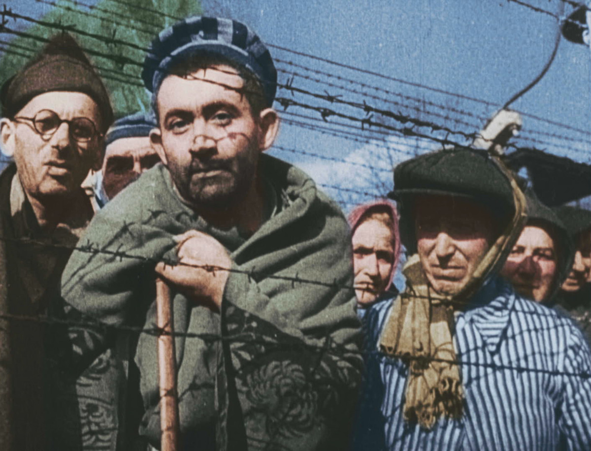 Survivors of Auschwitz on the day of liberation.