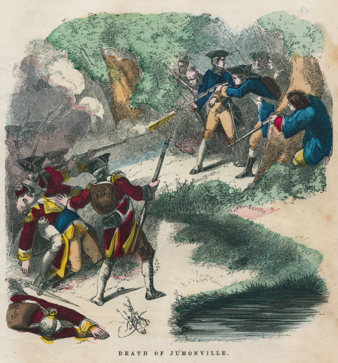 The death of French Ensign Joseph Coulon de Jumonville during a battle against British forces led by George Washington, on May 28, 1754.