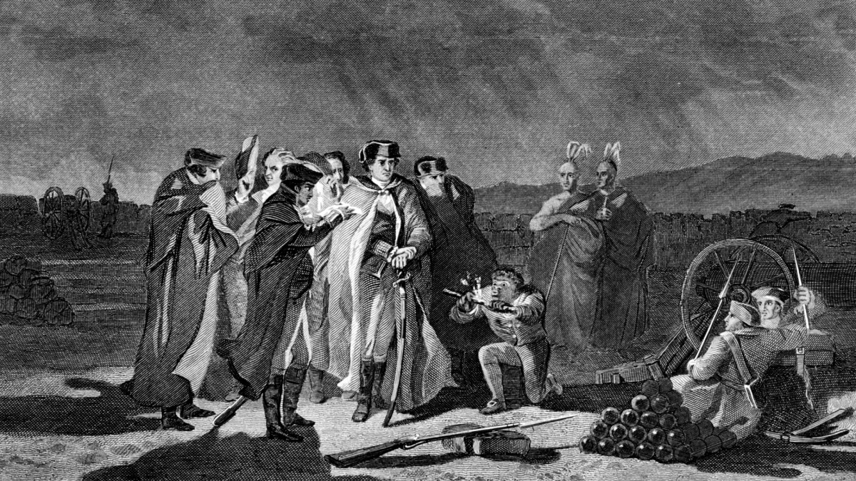 Night council between Colonel George Washington, of the Virginia militia, Captain James Mackay, of a South Carolina regiment and others considering surrender to the French during the French and Indian Wars at Fort Necessity.