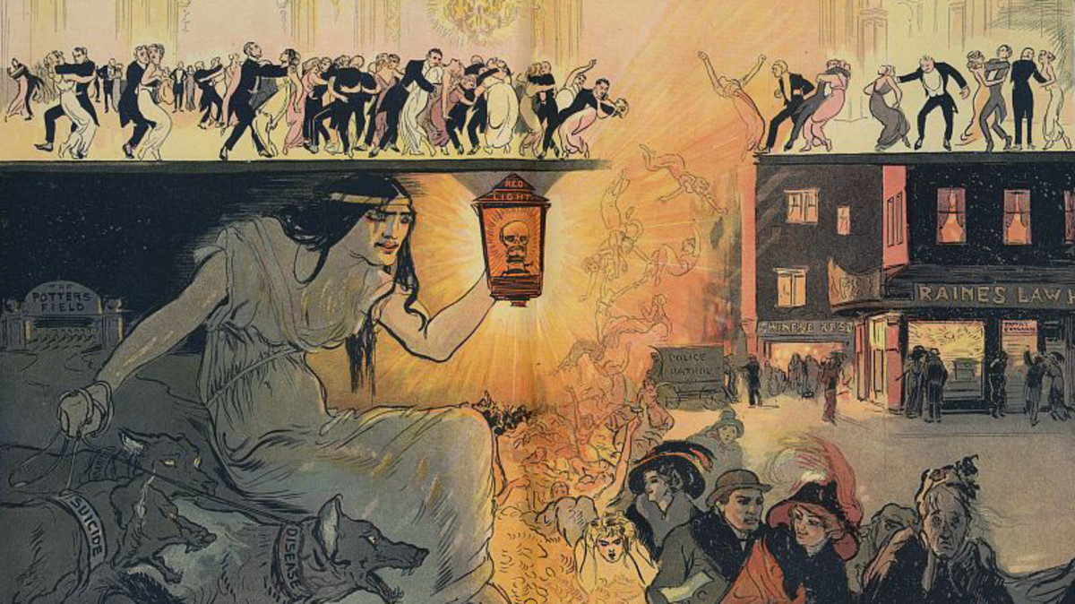 "The turkey trot illustrated as the ""dance of death,"" showing men and women dancing up top in a club, falling into prostitution with a woman holding a ""Red Light"" lantern and holding back dogs labeled ""Disease"", ""Insanity"", and ""Suicide."""