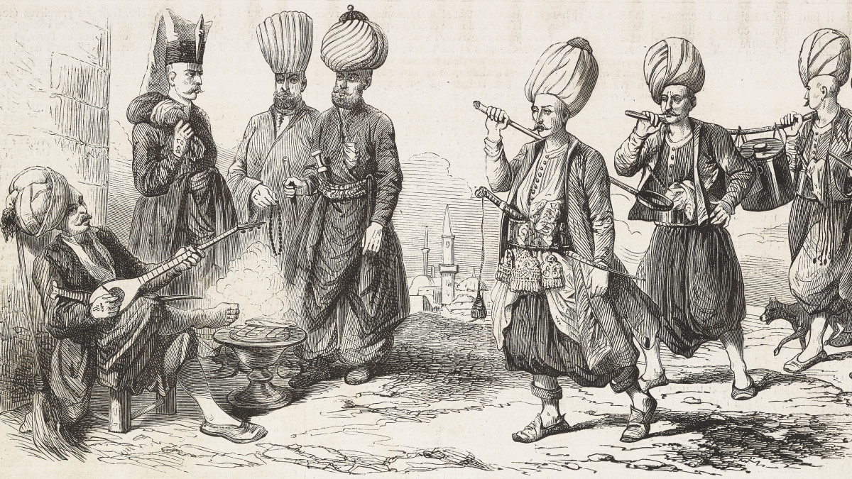 Janissaries gathering, including a head cook and water bearer.