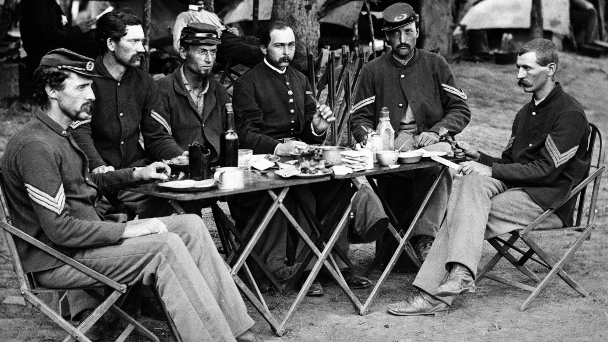 The officers' mess of Company D, 93d New York Infantry during the Civil War, circa 1863.