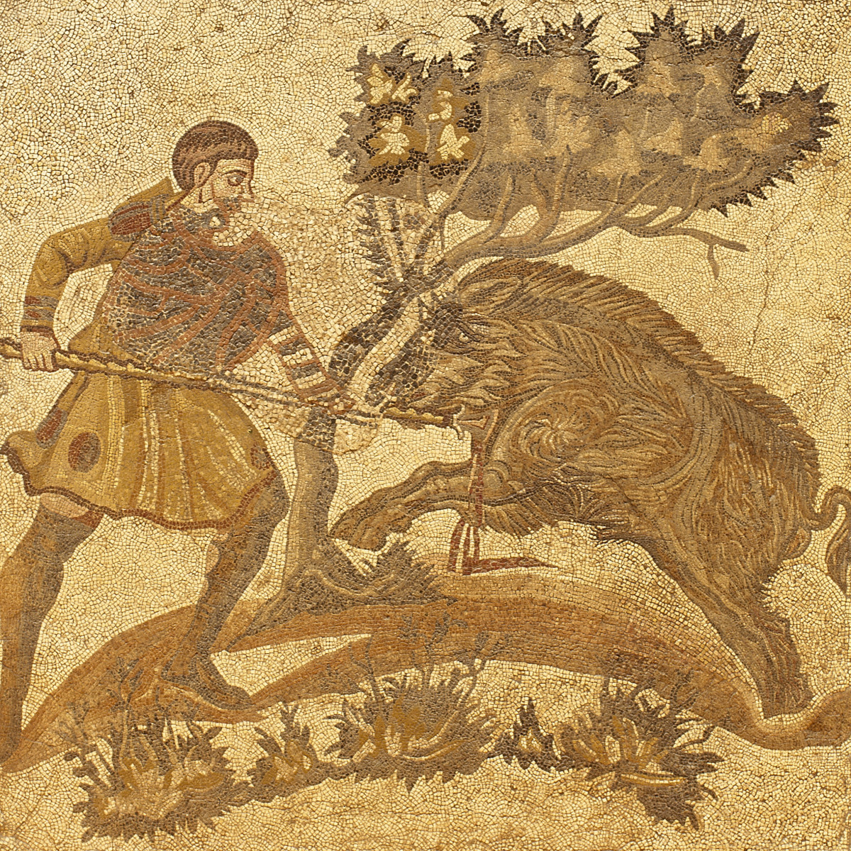 Roman soldier hunting a wild boar.