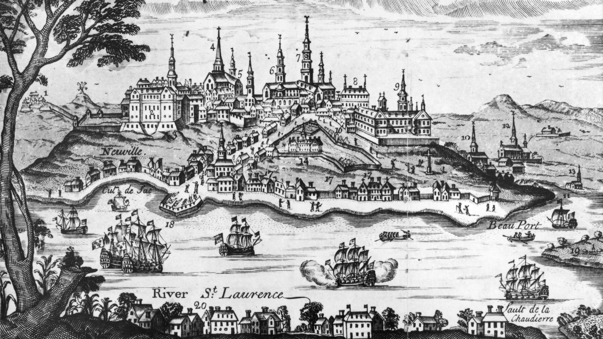 The city of Quebec and the Saint Laurence River at the time of the attack by United States Forces, circa 1775.