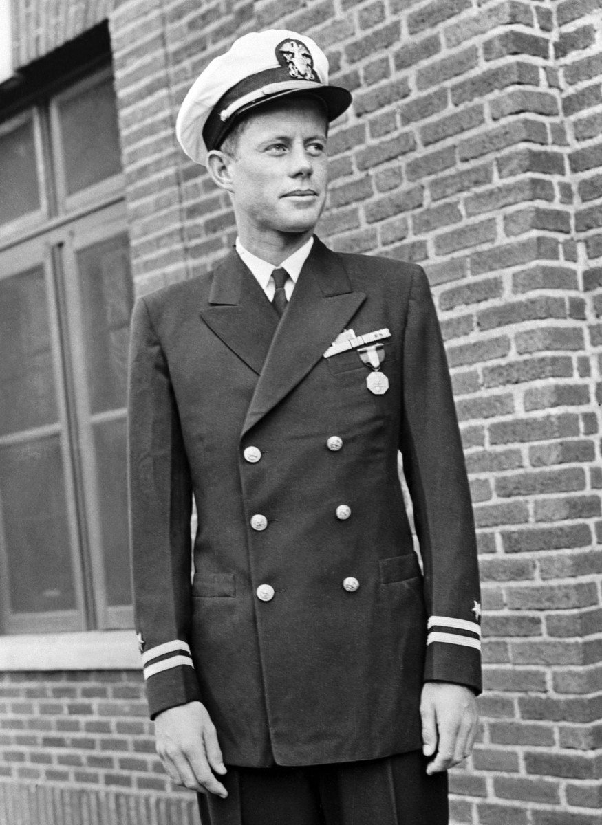 War hero, and later president, John F. Kennedy was Lieutenant when this photo was taken in 1944.