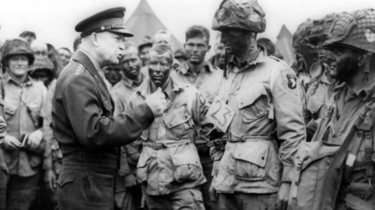 Eisenhower speaks with Allied troops prior to the D-Day invasion of Normandy on June 6, 1944.