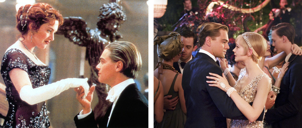 Fictional characters Jack Dawson (left) and Jay Gatsby (right).