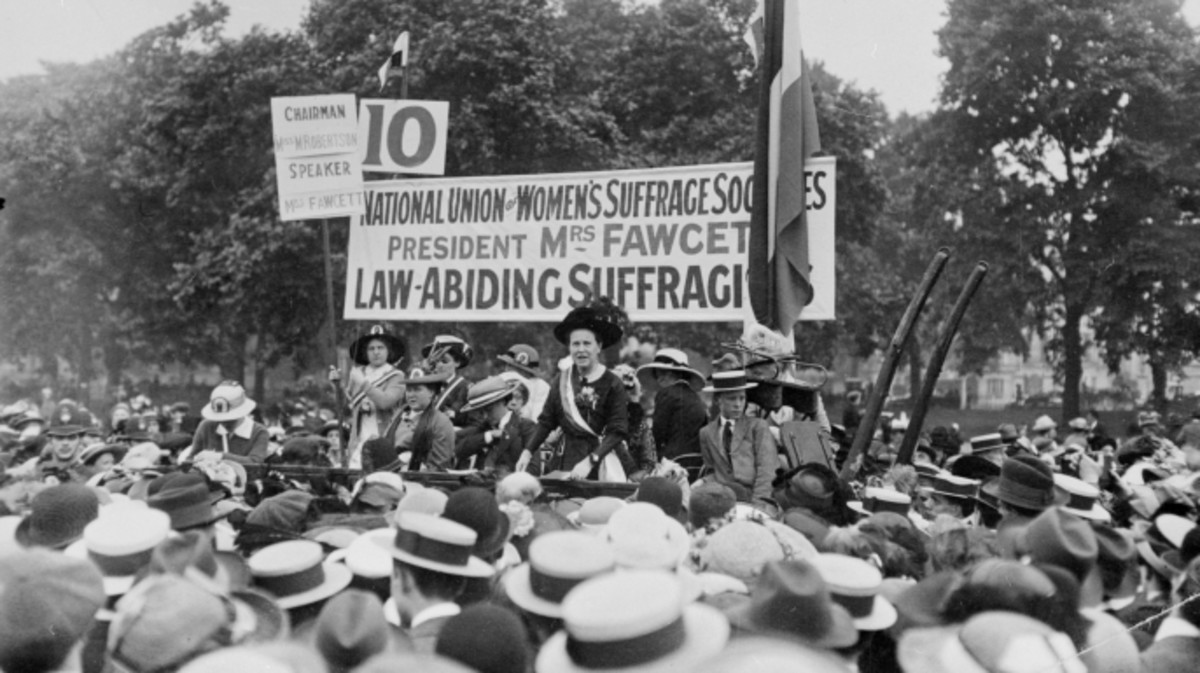 Millicent Fawcett addressing a meeting in Hyde Park as president of the National Union of Women's Suffrage Societies.