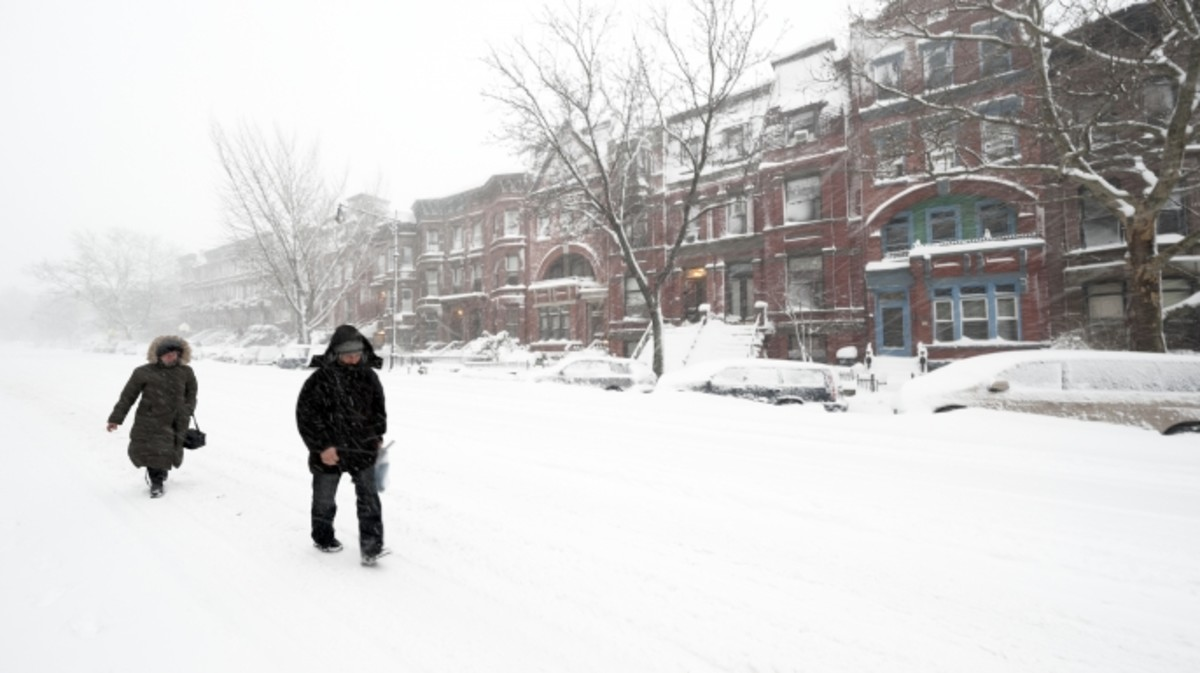 Park Slope, Brooklyn, NY, during a snow blizzard in February 2010.