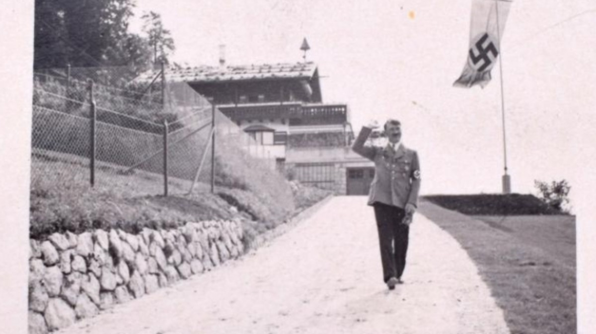 Hitler walking the Berghof grounds.