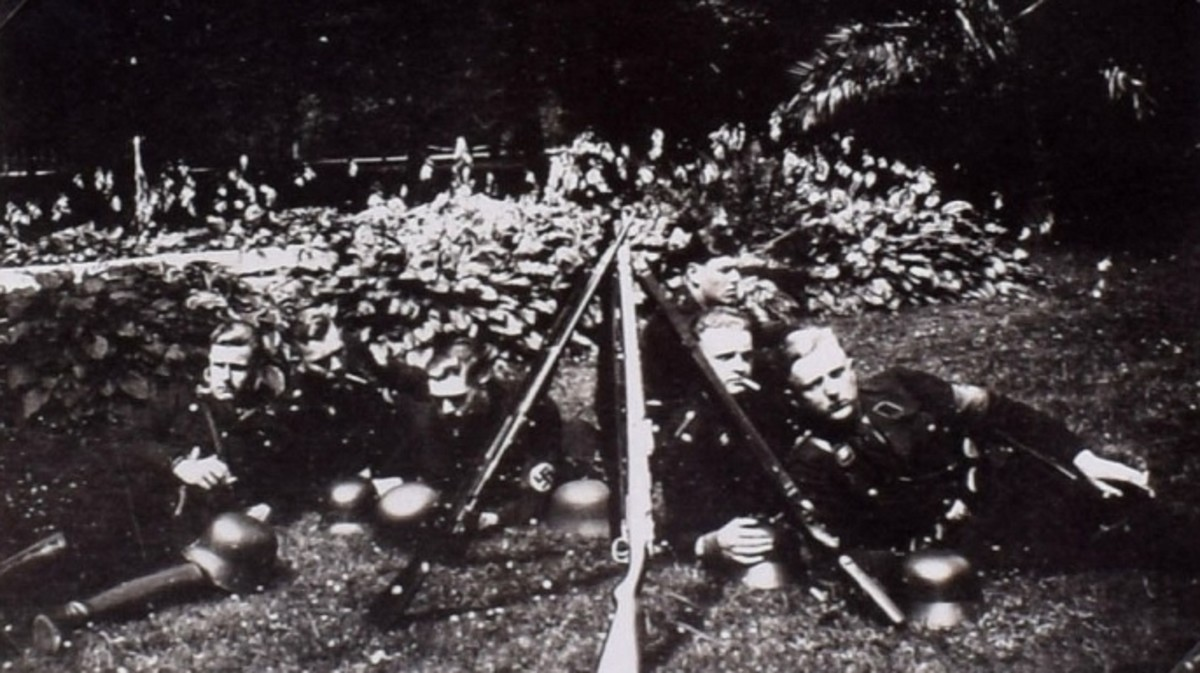Candid shot of German soldiers relaxing on the grounds.