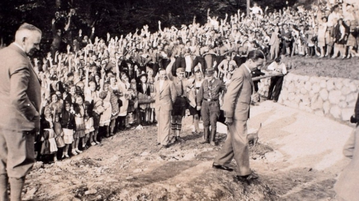 Propaganda minister Joseph Goebbels addresses a crowd.