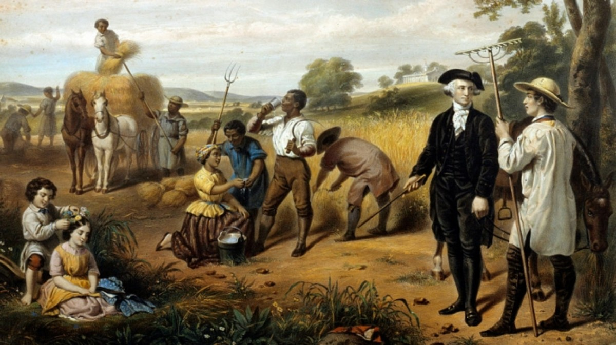 A depiction of George Washington during a harvest.