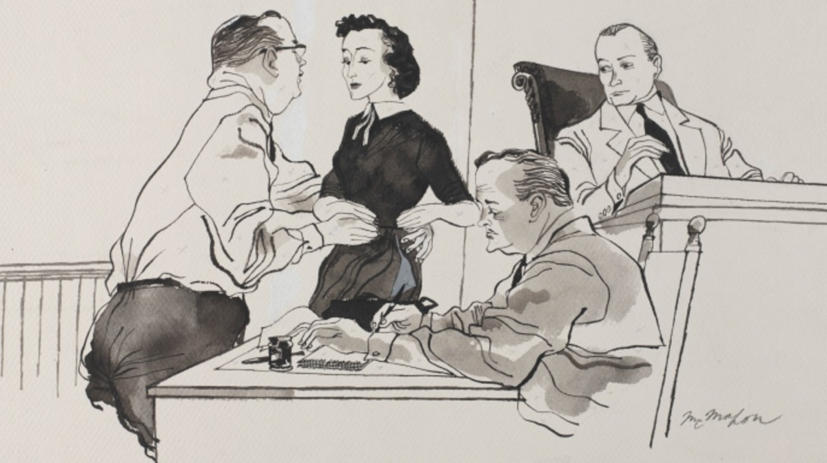 Illustration of Carolyn Bryant testifying during the trial of her husband, Roy Bryant, and J.W. Milam.