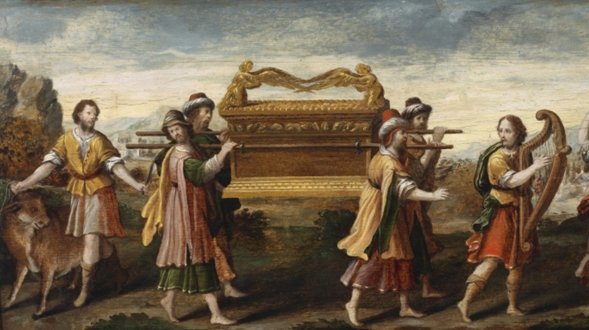 Painting depicting King David bearing the Ark of the Covenant into Jerusalem.