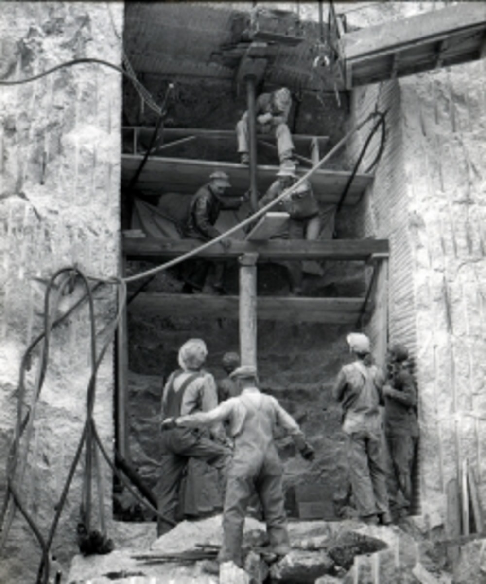 Mount Rushmore under construction.
