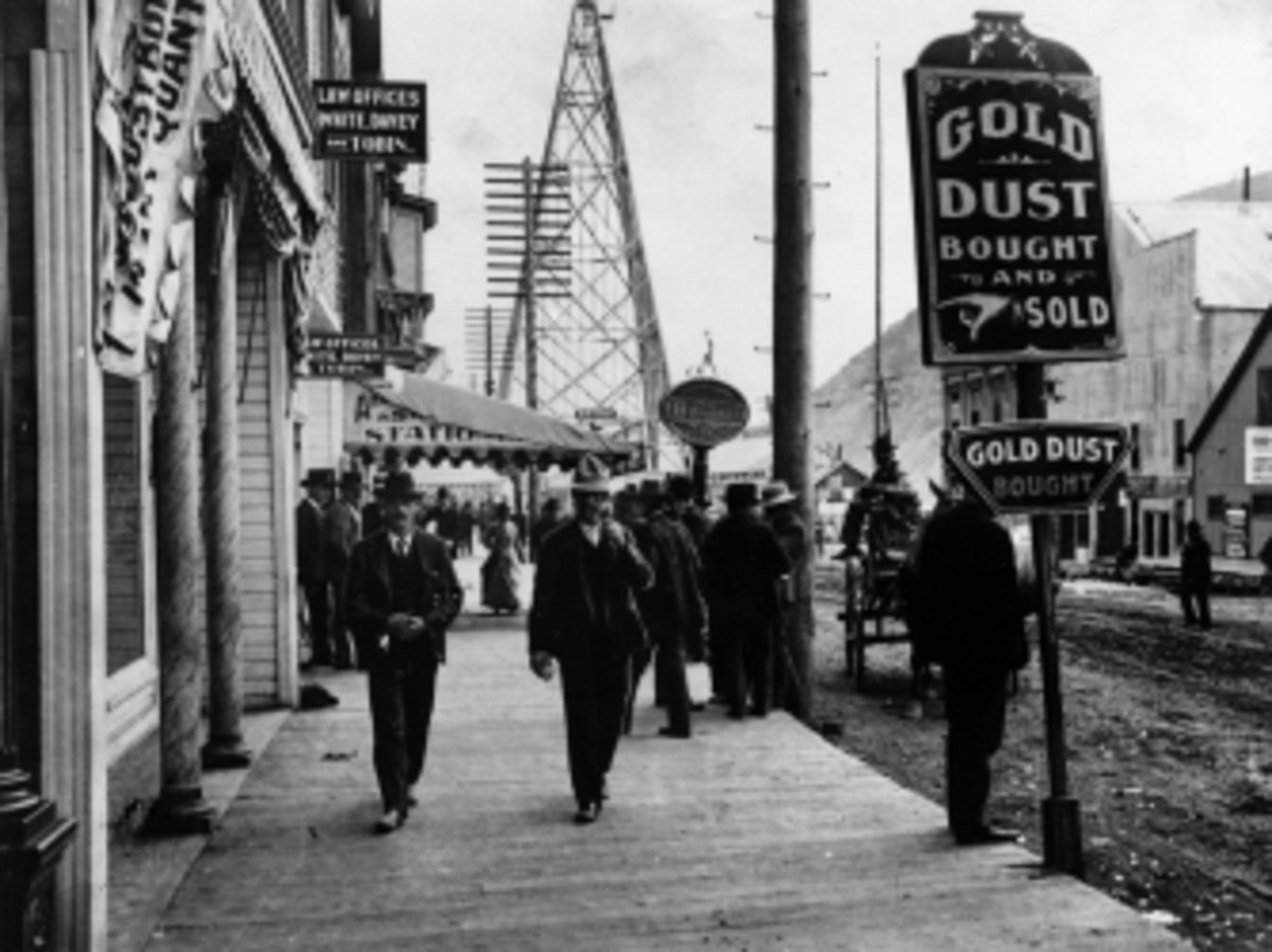 Main Street in the mining town of Dawson City, in Canada during the gold rush.