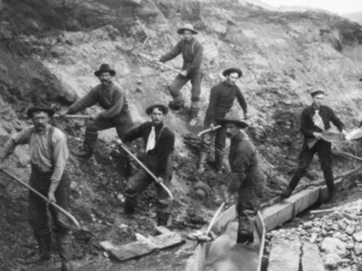Miners panning and digging during the gold rush.