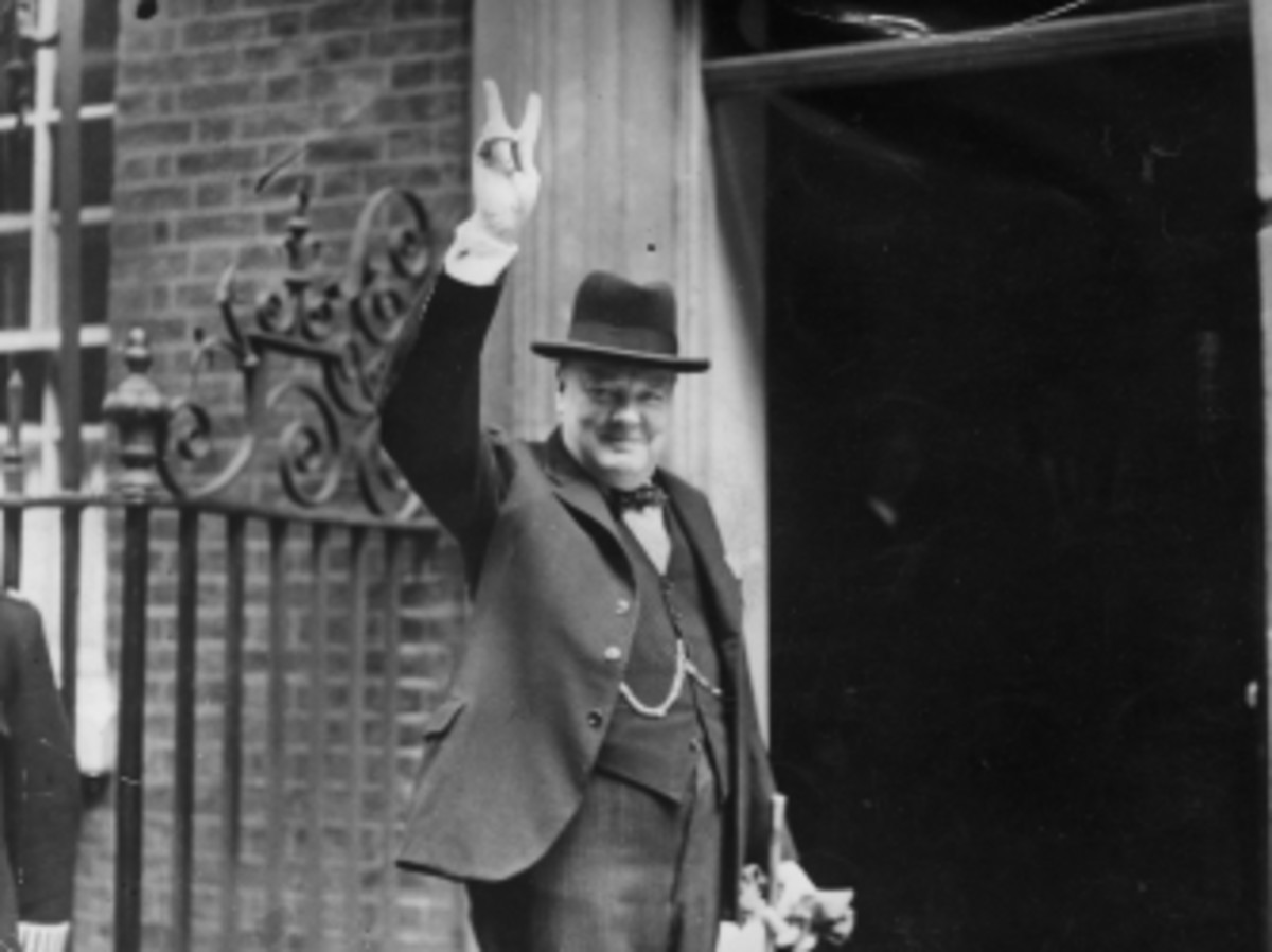 Winston Churchill outside 10 Downing Street in June 1943.
