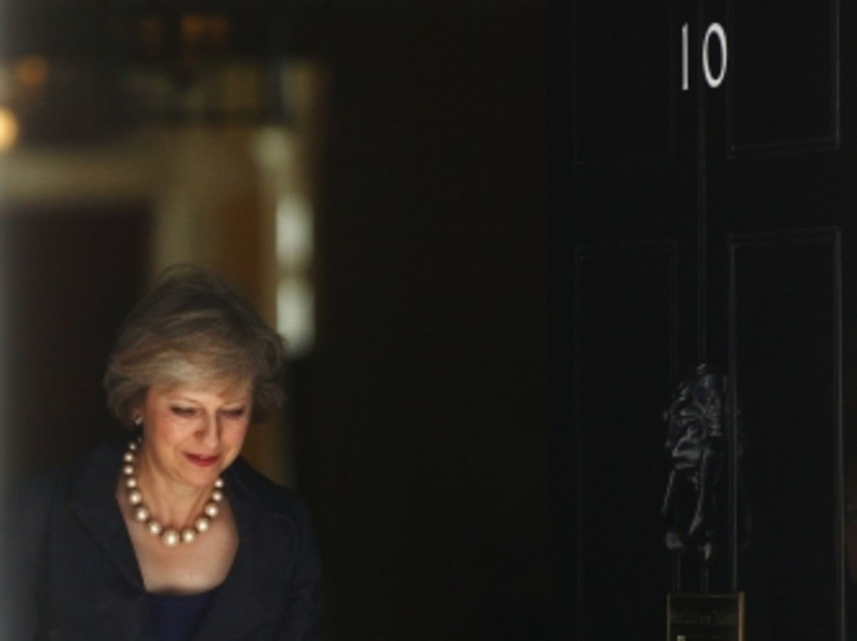 Theresa May departs a cabinet meeting in 10 Downing Street days before becoming prime minister.