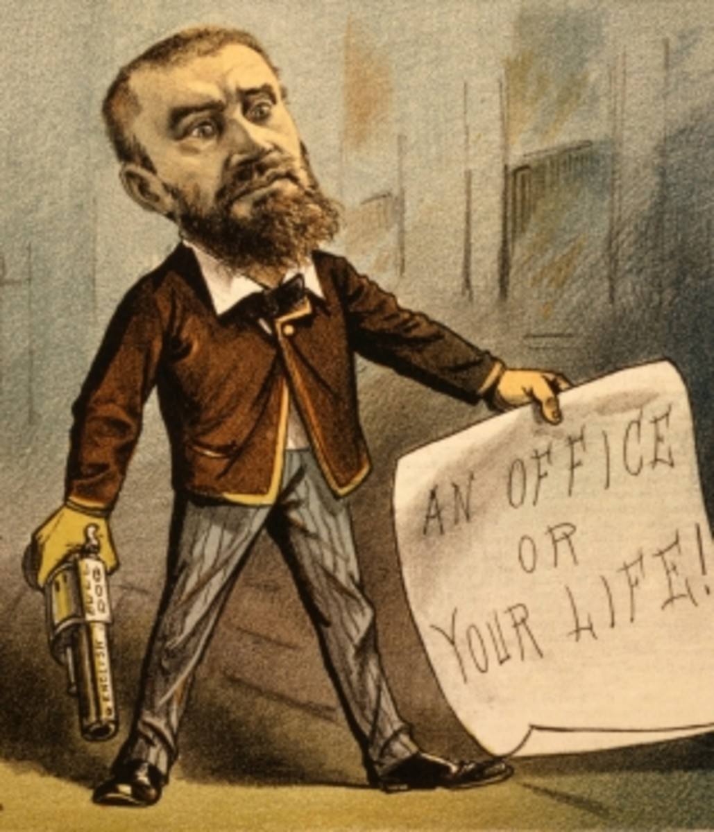 "Political cartoon showing Guiteau with a banner reading ""An office or your life!"""