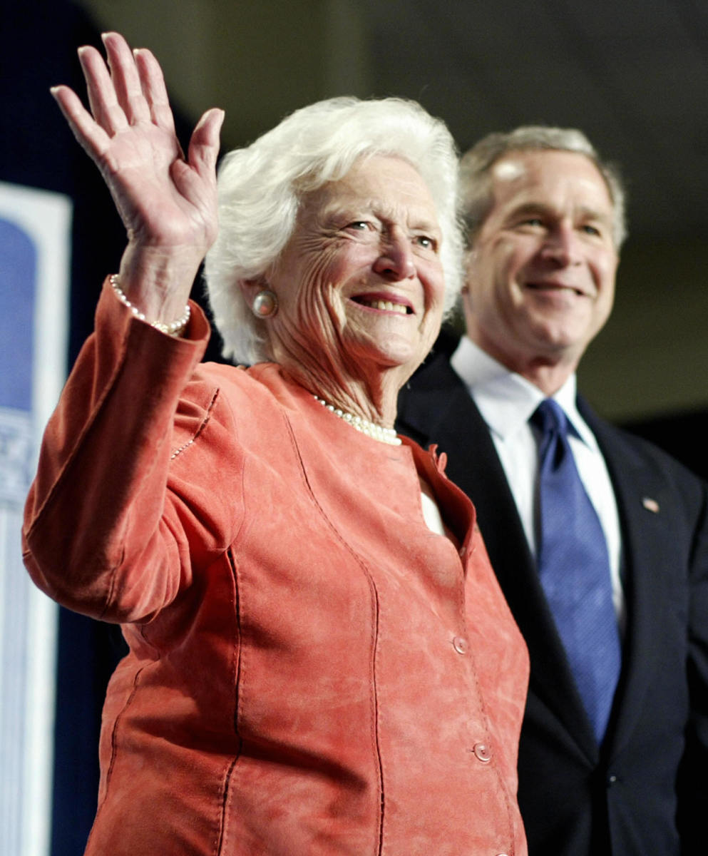 Former US first lady Barbara Bush with her son then-President George W. Bush, 2005.