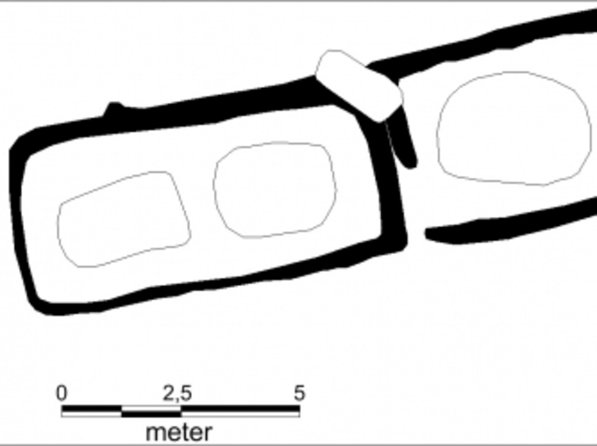 Sketch of the Viking tomb layout. The left is the room with two graves belonging to a man and a woman. The right is an additional grave for a man that was added later.