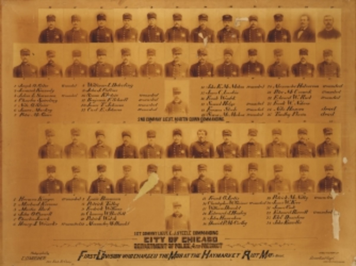 Group of portraits showing the members of the Chicago Police's First Division, who charged the mob at the Haymarket Riot, Chicago, IL, 1886.
