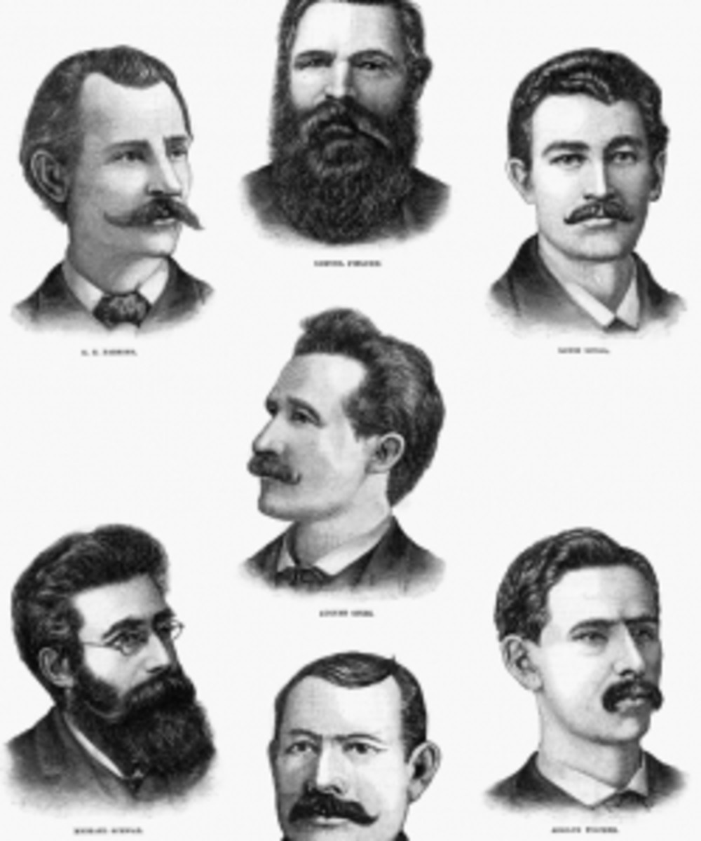 Portraits of the Haymarket Martyrs.