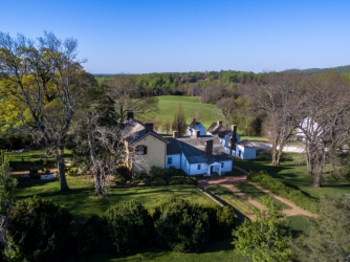 Aerial view of Ash Lawn property.