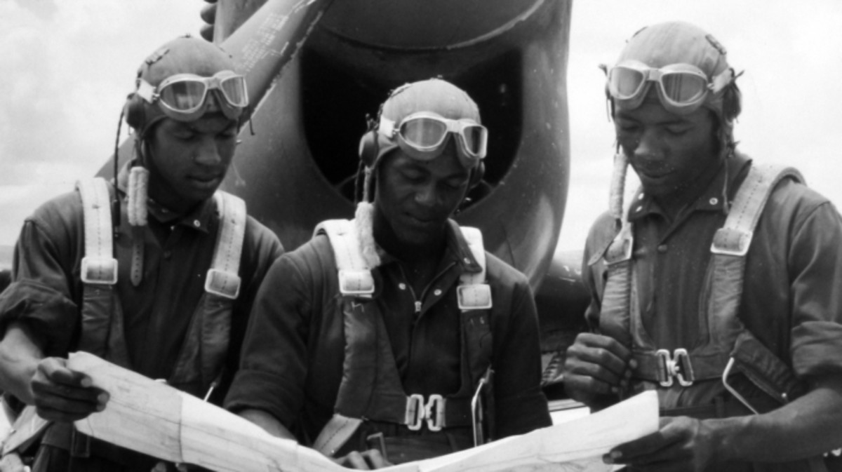 Tuskegee Airmen prepare for a flight from Tuskegee Army Airfield, 1943.