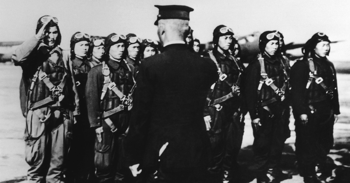 Japanese pilots receiving last orders before bombing the American Pearl Harbor military base in 1941.