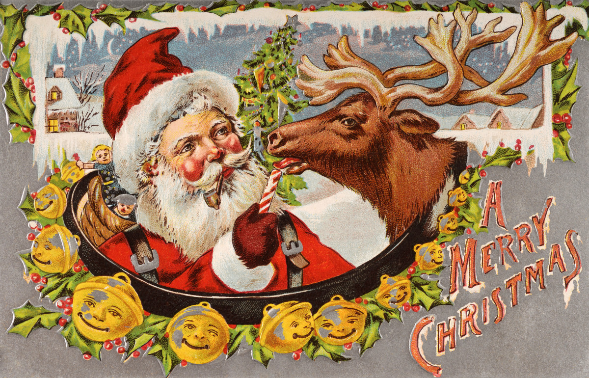 A 1920s Christmas card featuring Santa Claus and a reindeer licking a candy cane.