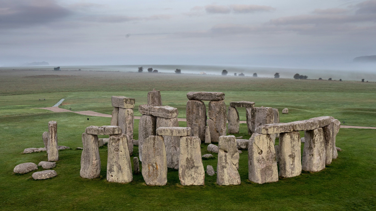 The ancient neolithic monument of Stonehenge in England.