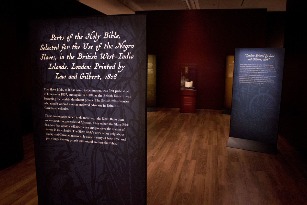 The Slave Bible on display as part of an exhibition at the Museum of the Bible in Washington, D.C.