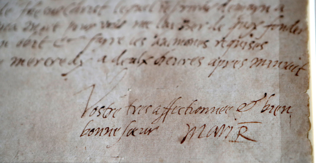 The signature of Mary Queen of Scots, on display at the National Library of Scotland in 2017, from the last letter she wrote just hours before her execution.