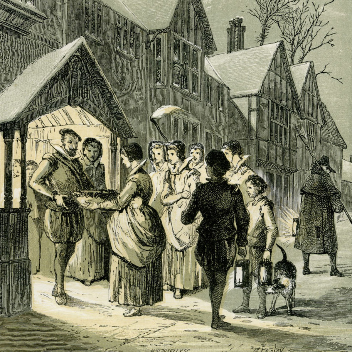 Wassail, an English hot mulled punch, being brought house to house during the Christmas season.