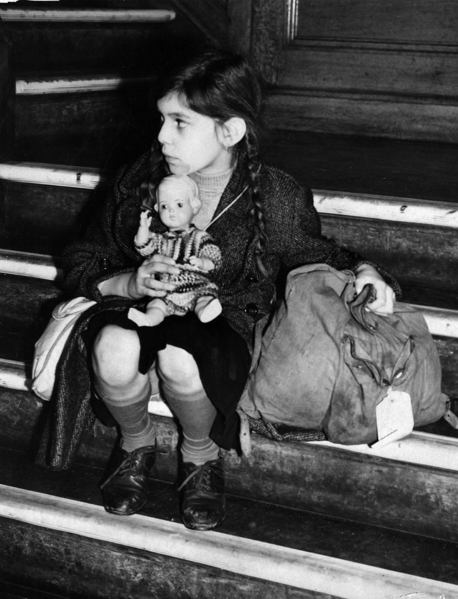 Tired and alone, 8-year-old Josepha Salmon, arriving from Germany destined for the Dovercourt Bay camp near Harwich in December 1938.