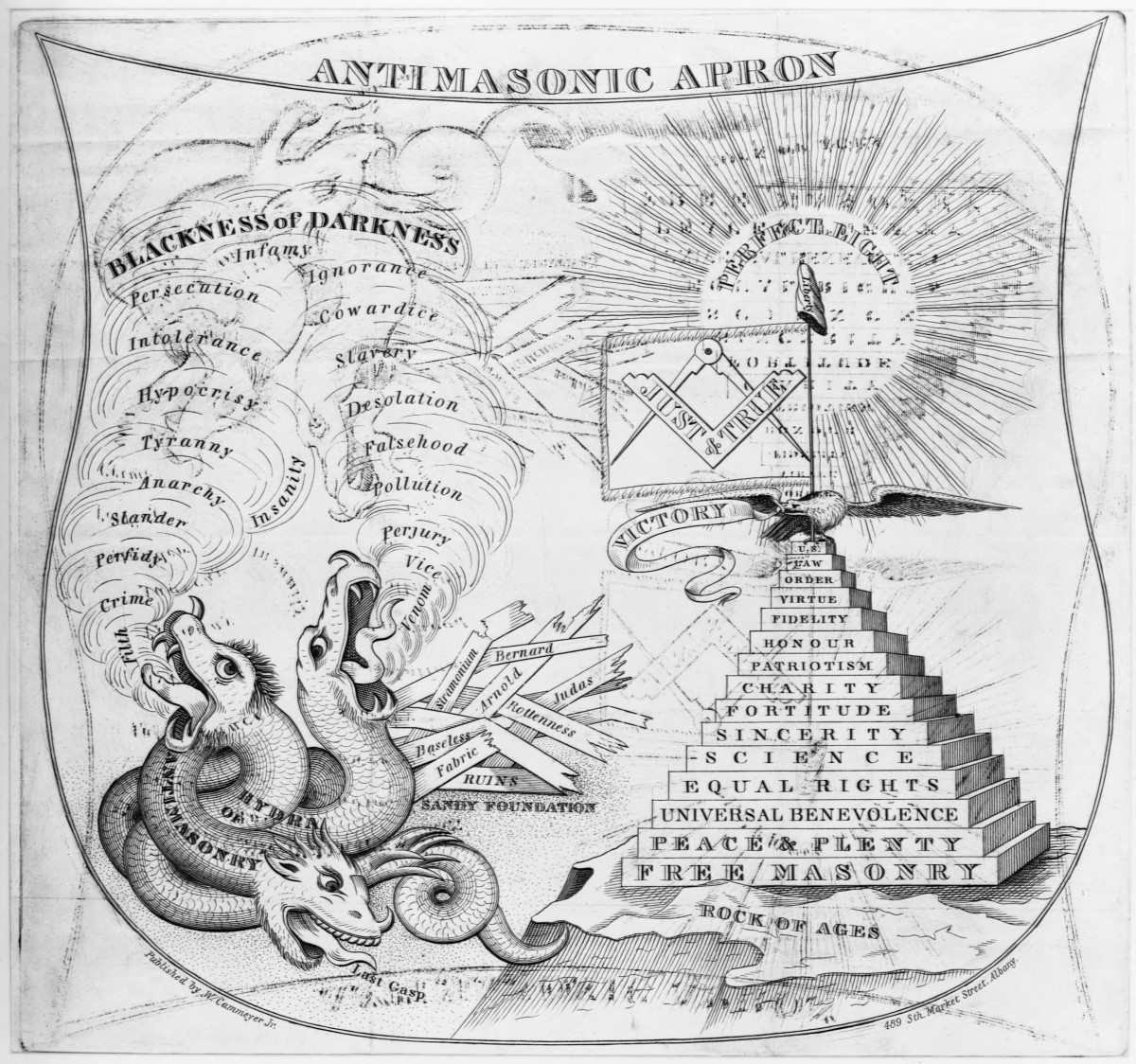 "An attack on the Anti-masonic party produced shortly after their September national convention. It symbolically contrasts the Freemasons, as aligned with peace, equal rights, and other positive qualitie, and the Anti-masonic party aligned with ""darkness."""