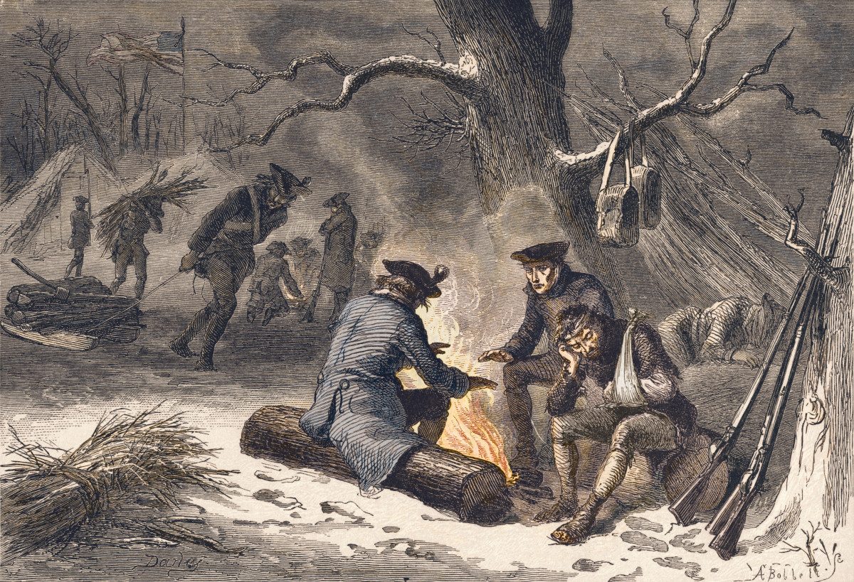 American troops trying to stay warm by a fire in the rough winters at Valley Forge.