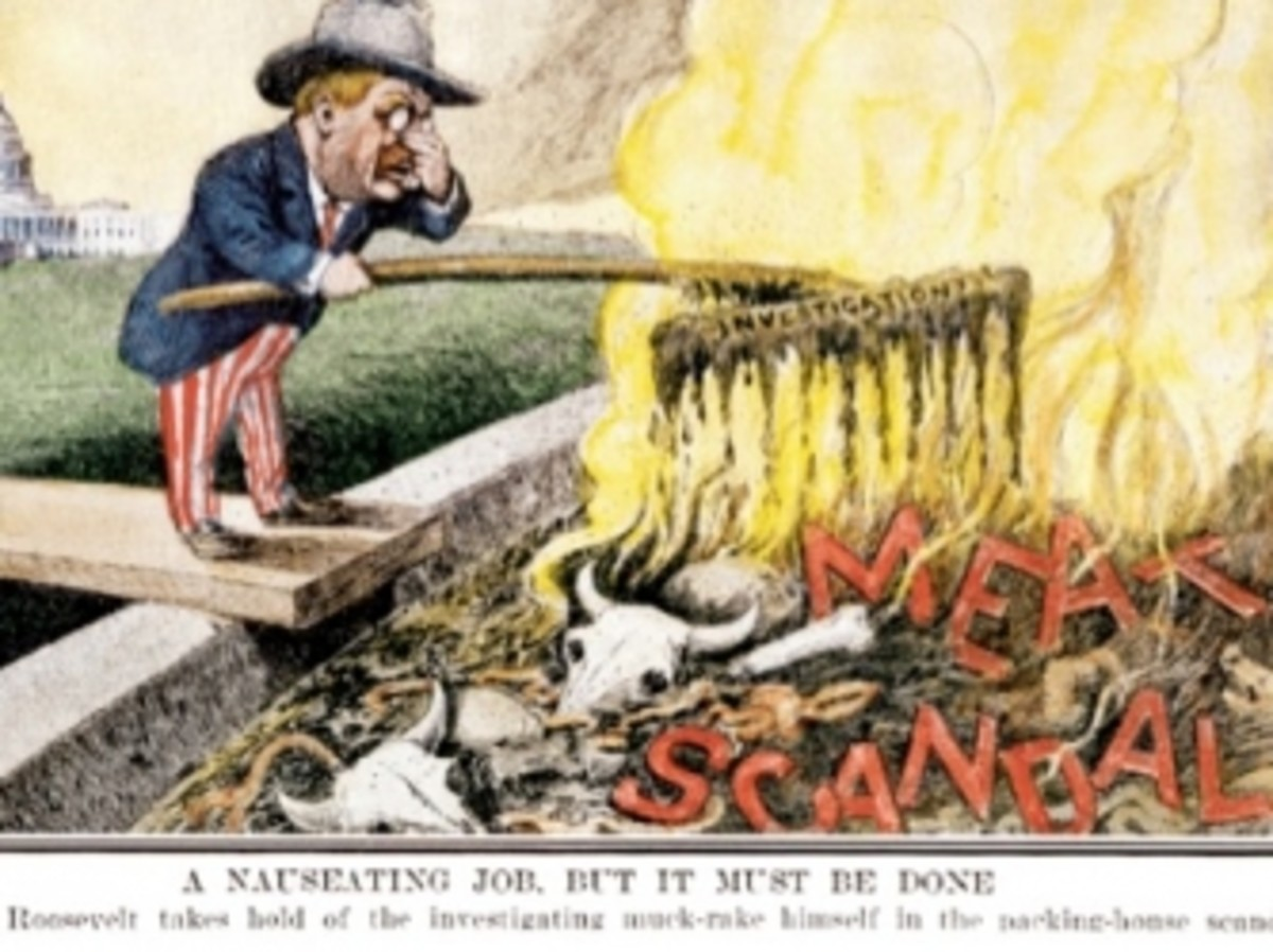 Cartoon depicting President Theodore Roosevelt's passage of the Meat Inspection Act.