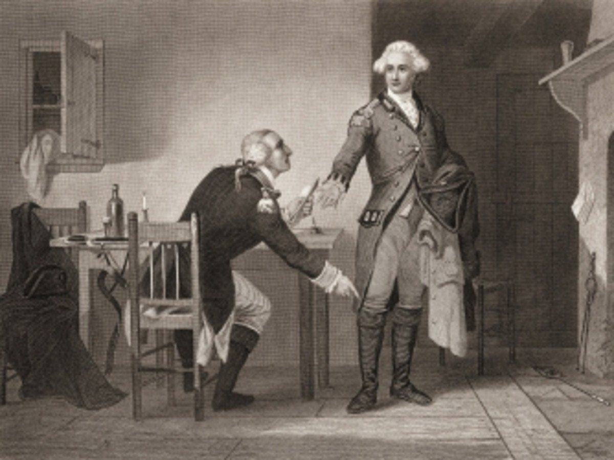 Engraving depicting American army officer Benedict Arnold seated at a table, as he hands papers to British officer John Andre during the American Revolutionary War.