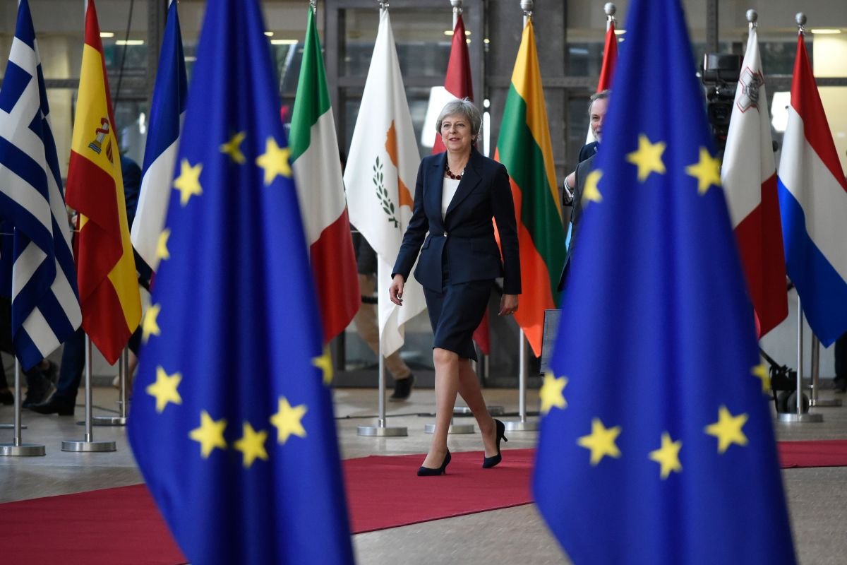 Britain's Prime Minister Theresa May arriving at the European Council to address a summit of European Union leaders regarding Brexit negotiations in October 2018.