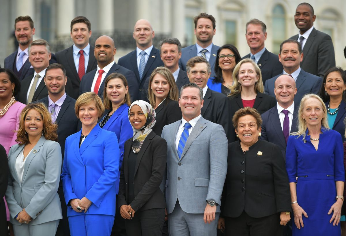 A few of the 116th Congress members-elects during a group photo on the East Front Plaza of the US Capitol in Washington, DC.