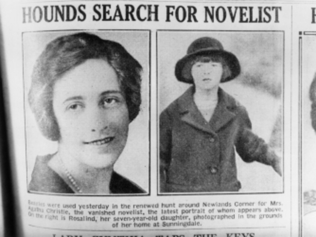English crime writer Agatha Christie and her daughter, Rosalind, (right), are featured in a newspaper article reporting the mysterious disappearance of the novelist.