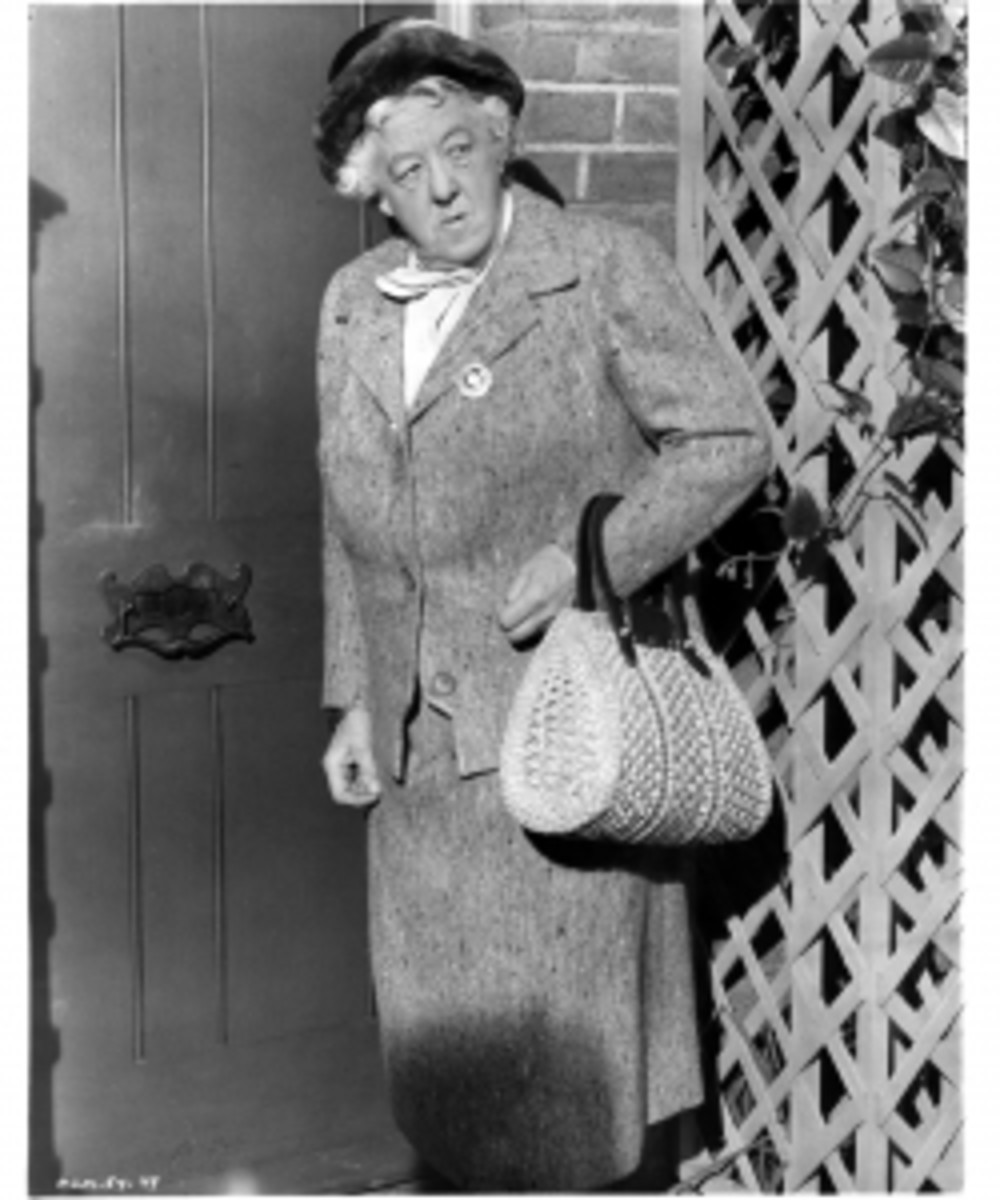 "Actress Margaret Rutherford as Miss Jane Marple on the set of the movie ""Murder Most Foul"" in 1964. (Credit: Michael Ochs Archives/Getty Images)"