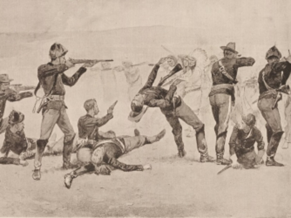 Frederic Remington illustration of the Wounded Knee Massacre.