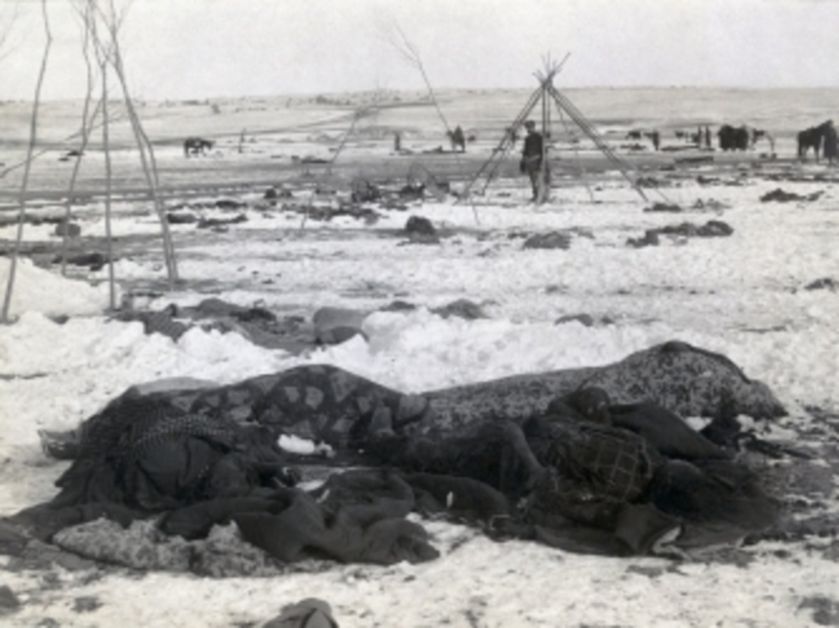 Bodies of Lakota Sioux at Big Foot's camp following the Wounded Knee Massacre.